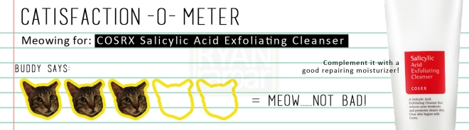 Catisfaction-o-meter (3x COSRX Salicylic Acid Exfoliating Cleanser)