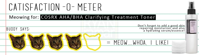 Catisfaction-o-meter (4x COSRX AHA BHA Clarifying Treatment Toner)