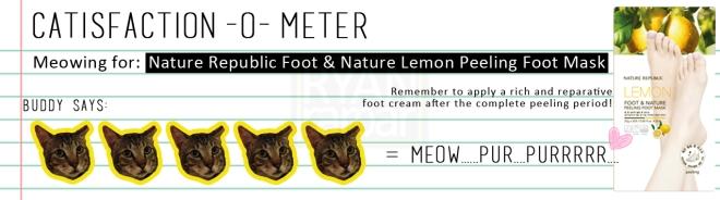 Catisfaction-o-meter (5x Nature Republic Foot & Nature Lemon Peeling Foot Mask)