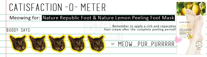 Catisfaction-o-meter (5x Nature Republic Foot & Nature Lemon Peeling Foot Mask)