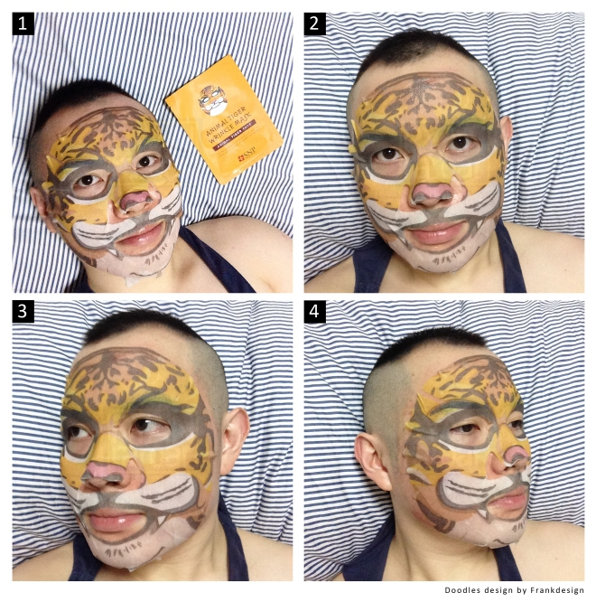 (I gave this SNP Animal Tiger Face Mask a try! ROAR~)