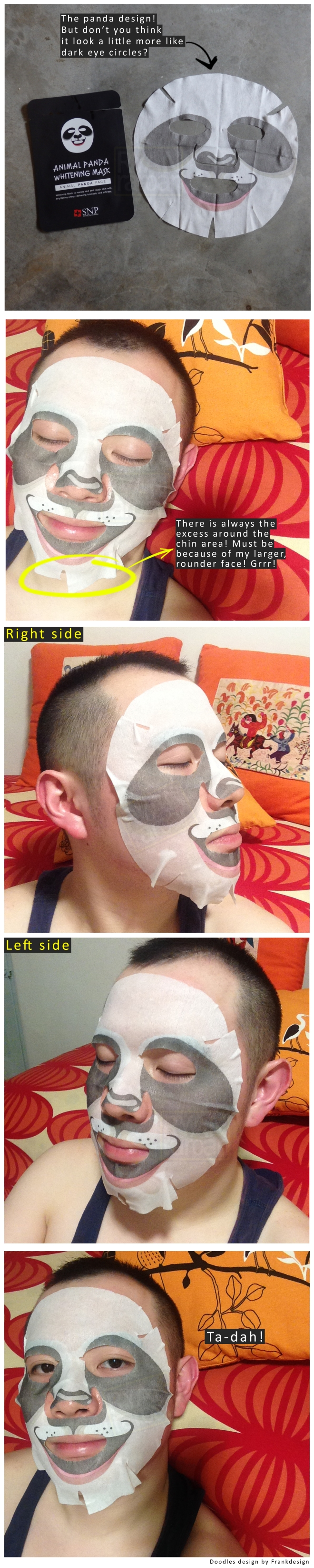 (I put the SNP Animal Panda Whitening Mask to test. Where's the bamboo yo?)