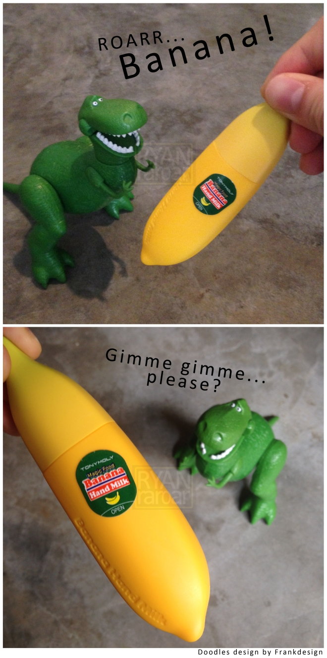 (Little Rex really wants the banana!)