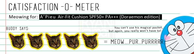Catisfaction-o-meter (5x A'Pieu Air-Fit Cushion - Doraemon edition)