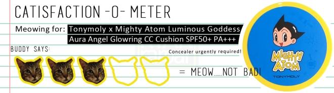 Catisfaction-o-meter (3x Tonymoly x Mighty Atom Luminous Goddess Angel Glowring CC Cushion)