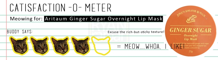 Catisfaction-o-meter (4x Aritaum Ginger Sugar Overnight Lip Mask)