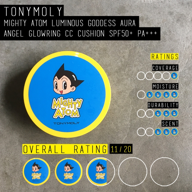 Tonymoly x Mighty Atom Luminous Goddess Aura Angel Glowring CC Cushion (Rating scale)