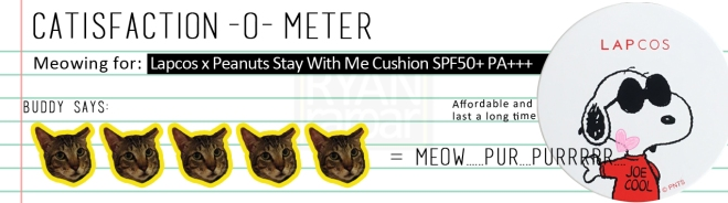 Catisfaction-o-meter (5x Lapcos x Peanuts Stay With Me Cushion SPF50+ PA+++)