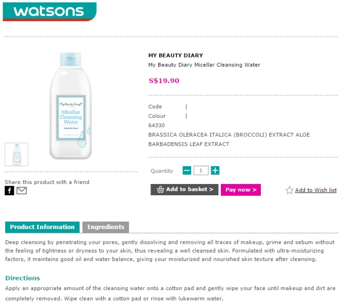 My Beauty Diary Micellar Cleansing Water (Info - Watsons)