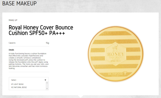 Skinfood Royal Honey Cover Bounce Cushion SPF50+ PA+++ (Info - eng)