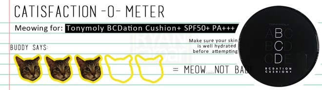 Catisfaction-o-meter (3x Tonymoly BCDation Cushion+ SPF50+ PA+++)