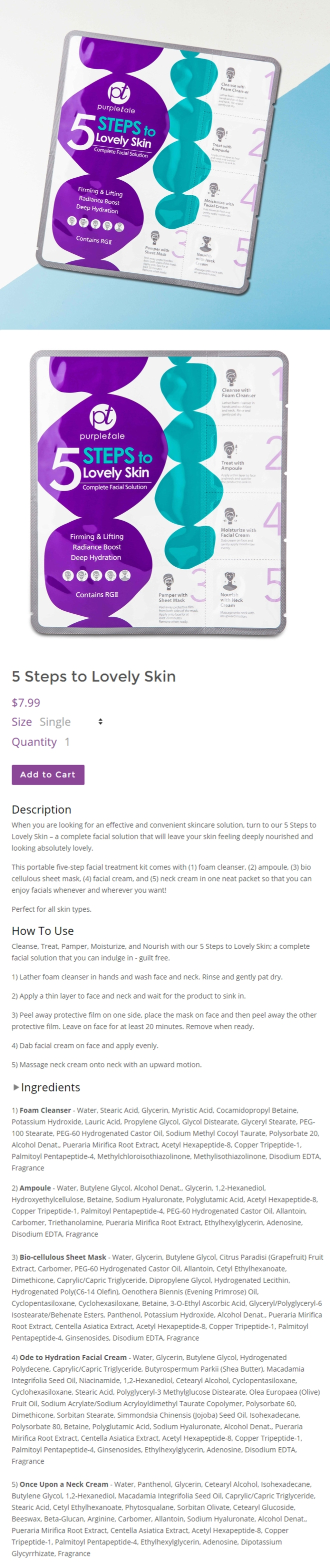 PurpleTale 5 Steps to Lovely Skin Complete Facial Solution (Product info)