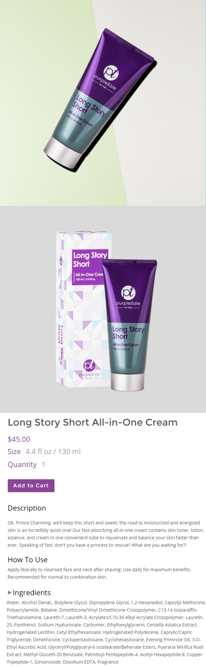 PurpleTale Long Story Short All-in-One Cream (Product info)