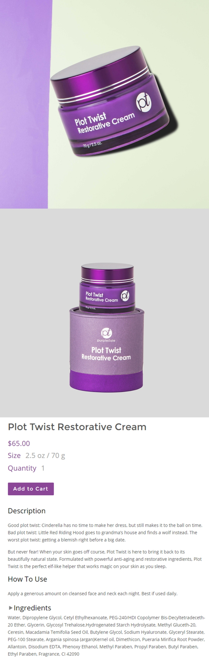 PurpleTale Plot Twist Restorative Cream (Product info)