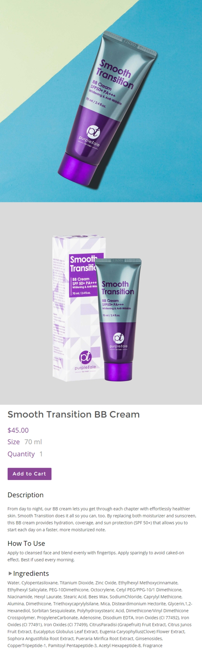 PurpleTale Smooth Transition BB Cream SPF50+ PA+++ (Product info).jpg