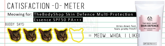 Catisfaction-o-meter (4x TheBodyShop Skin Defence Multi-Protection Essence SPF50 PA++++).jpg