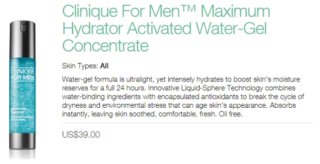 Clinique For Men Maximum Hydrator Activated Water-Gel Concentrate (info)