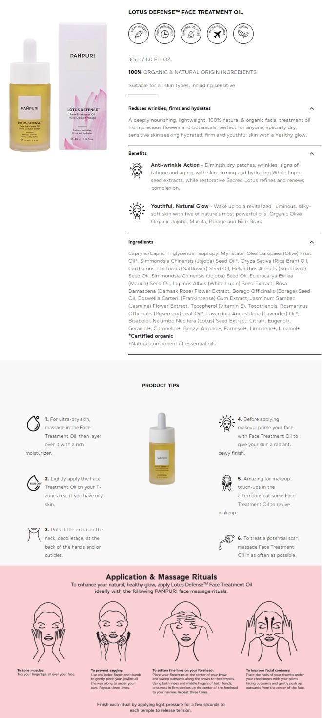 Lotus Defense Face Treatment Oil