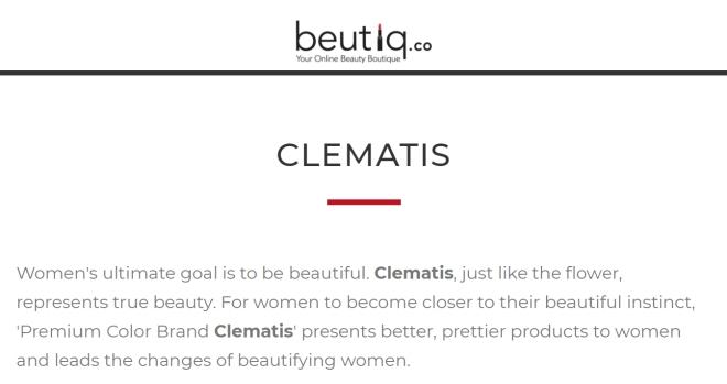 Clematis brand info (Beutiq.Co)
