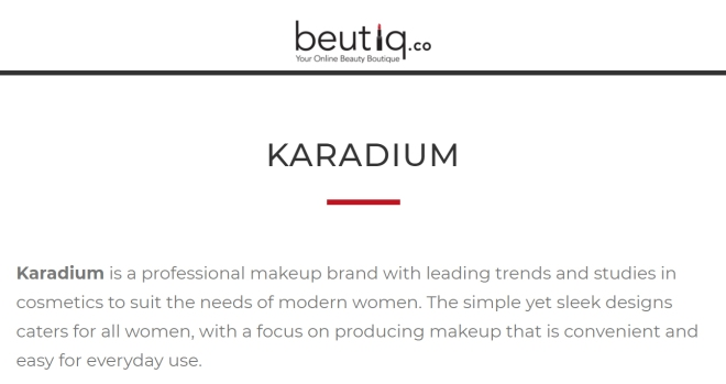 Karadium brand info (Beutiq.Co)