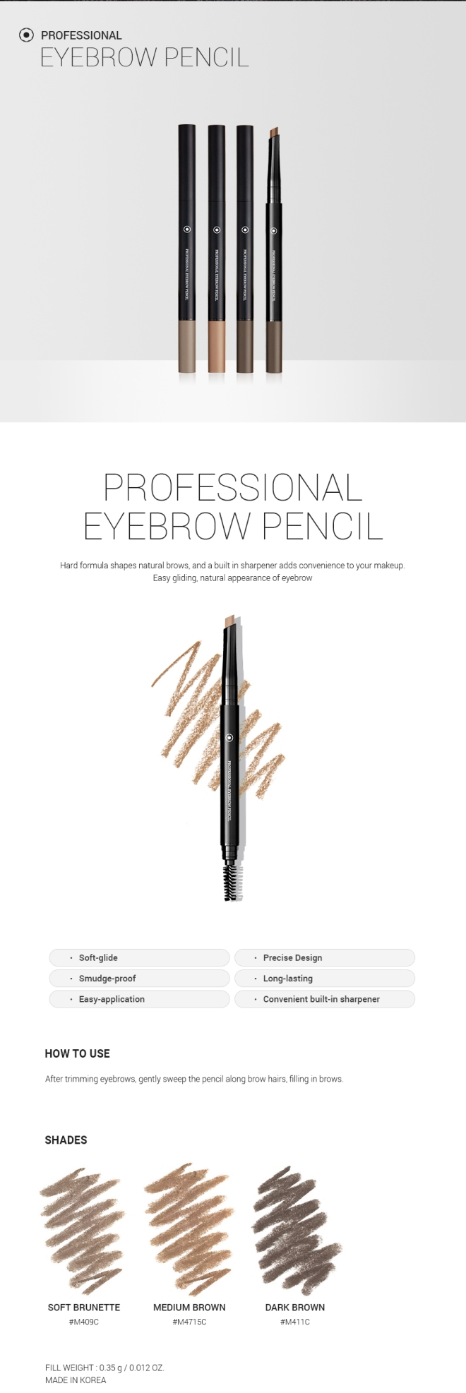 Professional Eyebrow Pencil (M411C Dark Brown) - 02