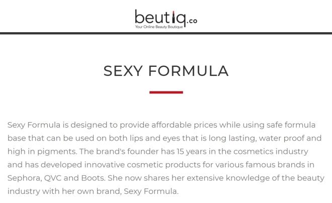 Sexy Formula brand info (Beutiq.Co)